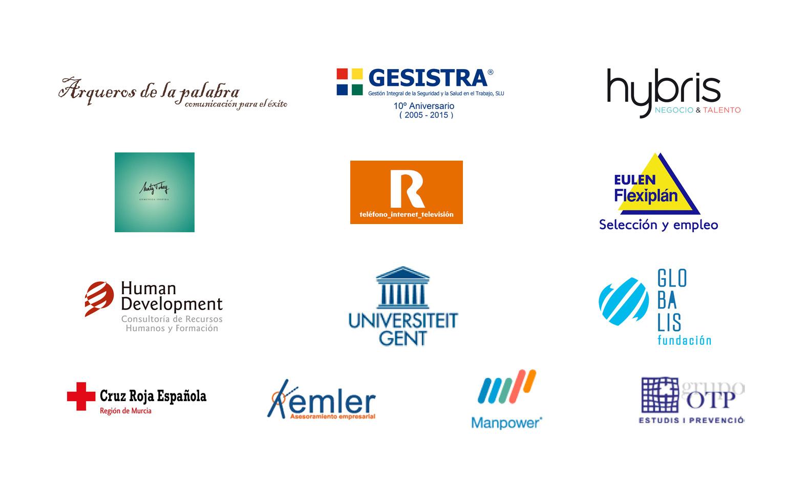 logotipos empresas colaboradoras: Arqueros de la Palabra, Maty Tchey, OTP, Manpower, Universidad de Gent, R, Eulen Flexiplan, Human Development, Hybris, Cruz Roja, Gesistra, Kemler, GLobalis