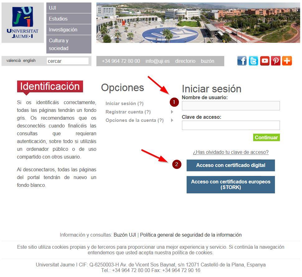 pantalla acceso al portal