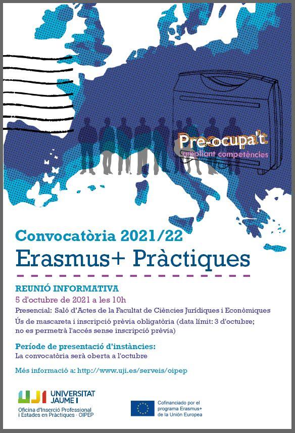 Cartell sessió informativa Erasmus + pràctiques 2021/22