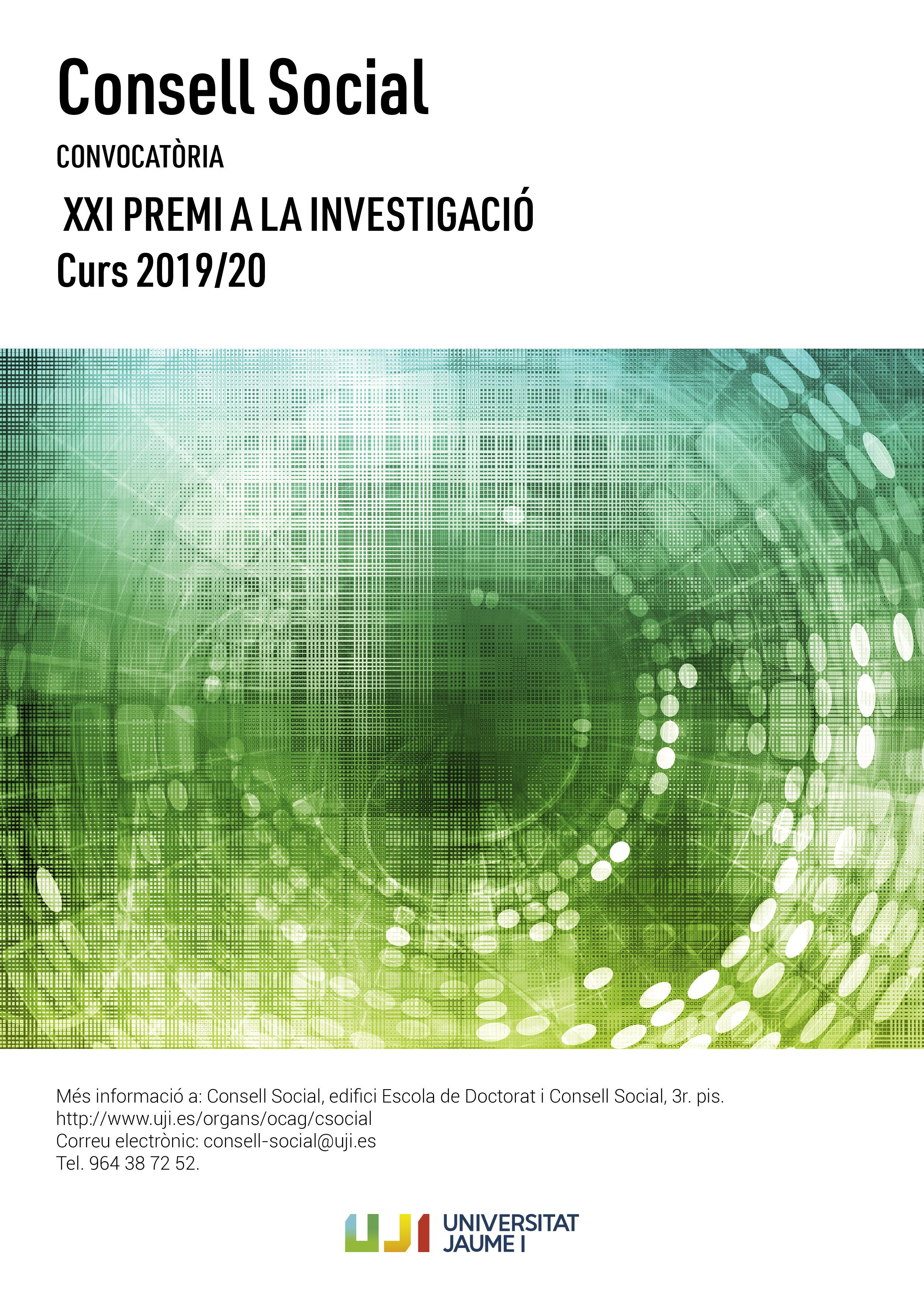 Cartell del XXII Premi del Consell Social a la Investigació 2020