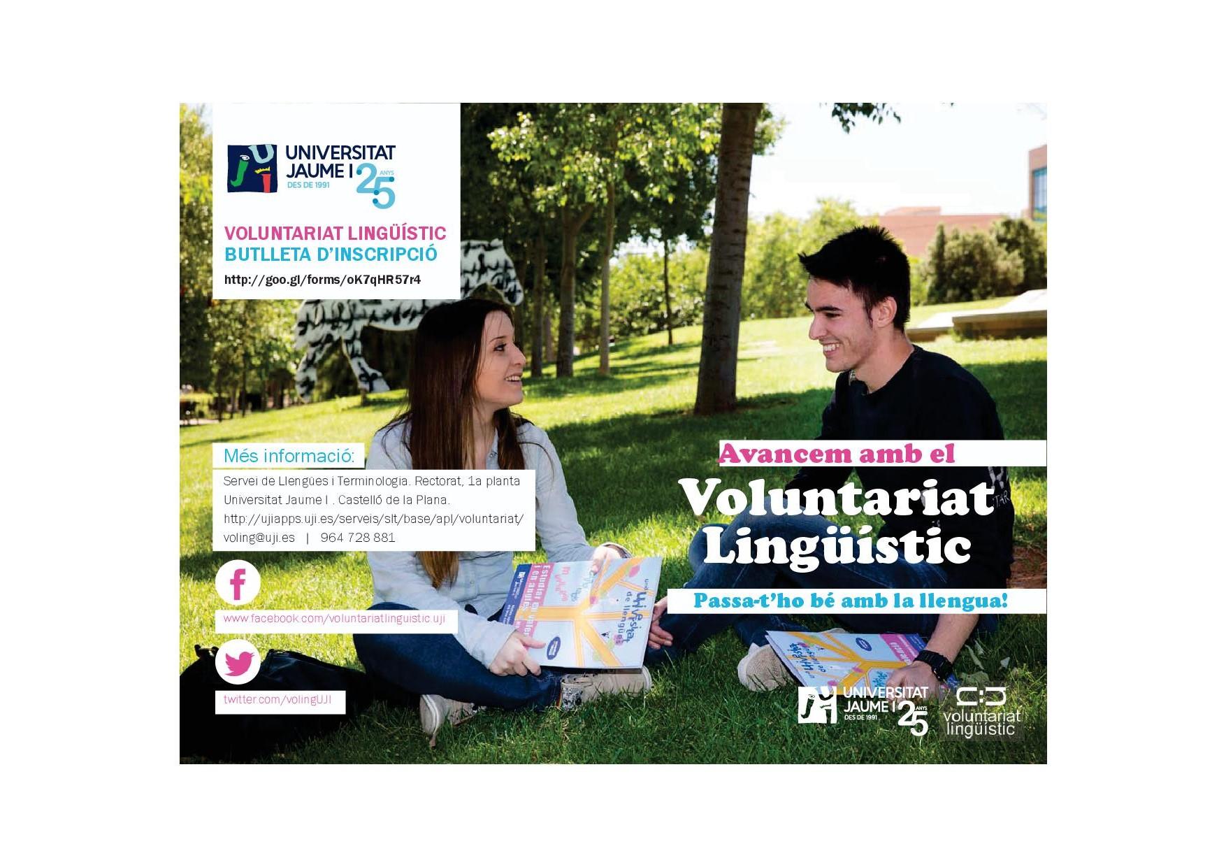 Cartell del Voluntariat lingüístic 2015